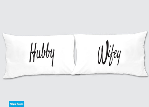Hubby - Wifey Matching Pillow Cases - Awesome Gift for cute couples - Price is for 2 Pillow cases