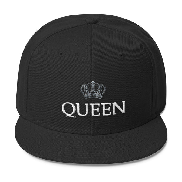 Queen Gray and White Print Wool Blend Snapback