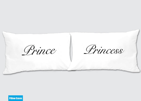 Prince - Princess Matching Pillow Cases - Awesome Gift for cute couples - Price is for 2 Pillow ...