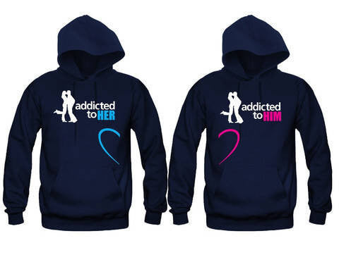 Addicted To Her - Addicted To Him Unisex Couple Matching Hoodies