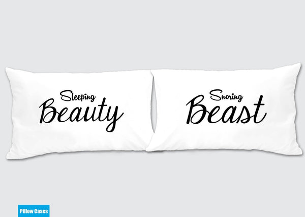 Cute Matching Pillow Cases : Sleeping Beauty - Snoring Beast Matching Pillow Cases - Awesome Gift for cute couples - Price is ...
