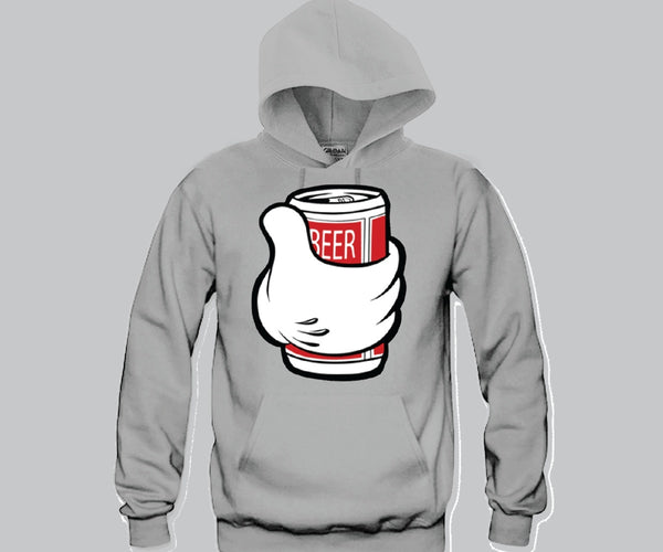 Beer Can Mickey Hands Unisex Hooded Sweatshirt Funny and Music