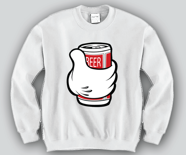 Beer Can Mickey Mouse hands Unisex Crewneck Funny and Music