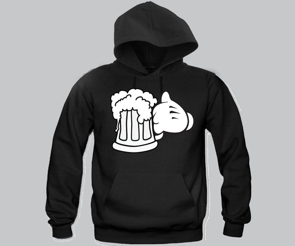 Beer Glass Mickey Hands Unisex Hooded Sweatshirt Funny and Music