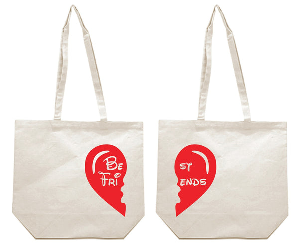Best Friends Heart Cartoon Theme Girl BFFS Canvas Tote Bag