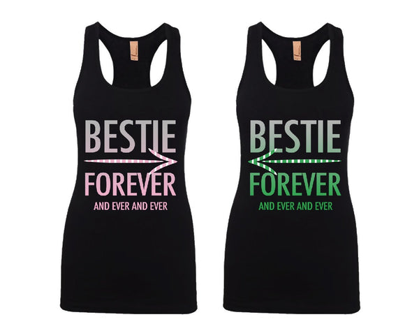 Bestie Forever and Ever and Ever Girl BFFS Jersey Racerback Tank Tops