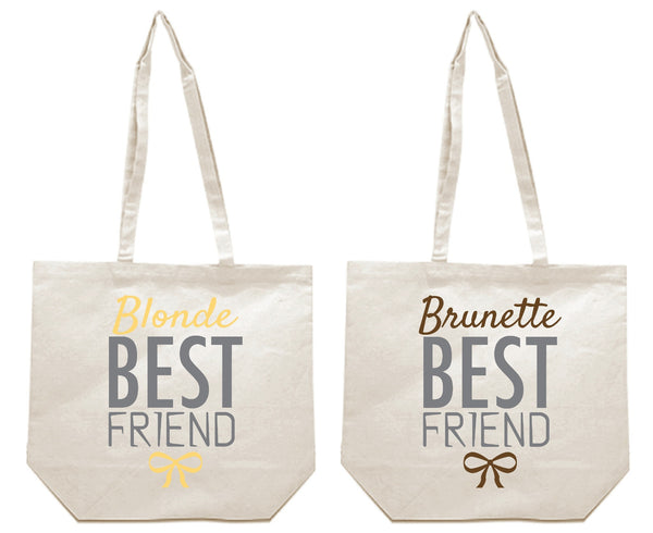 Blonde and Brunette Best Friends Girl BFFS Canvas Tote Bag