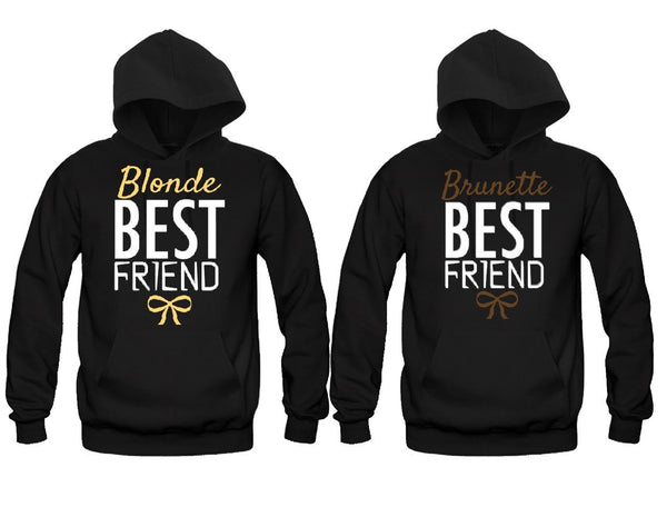 Blonde and Brunette Best Friends Girl BFFS Hoodies