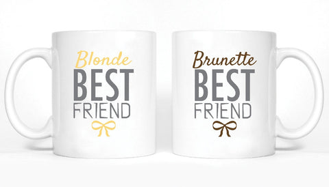 Blonde and Brunette Best Friends Girl BFFS Mugs