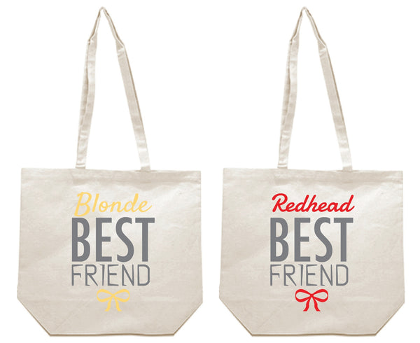 Blonde and Redhead Best Friends Girl BFFS Canvas Tote Bag