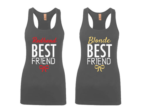 Blonde and Redhead Best Friends Girl BFFS Jersey Racerback Tank Tops