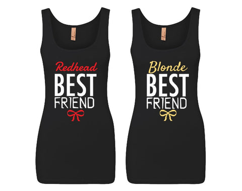 Blonde and Redhead Best Friends Girl BFFS Jersey Tank Tops