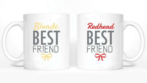 Blonde and Redhead Best Friends Girl BFFS Mugs