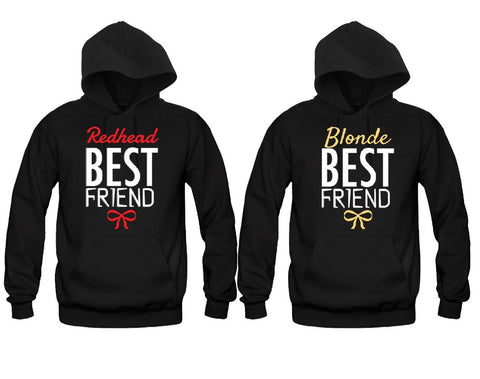 Blonde Best Friend and Redhead Best Friend Girl BFFS Hoodies