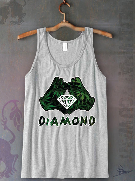 Diamond Hands Leaf Unisex Tank Top Funny and Music