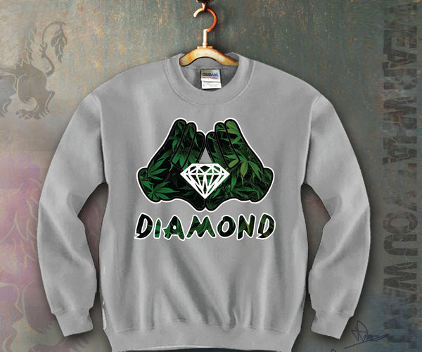 Diamond Mickey Hands Leafs Unisex Crewneck Funny and Music
