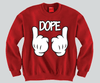 DOPE Mickey Mouse hands Unisex Crewneck Funny and Music