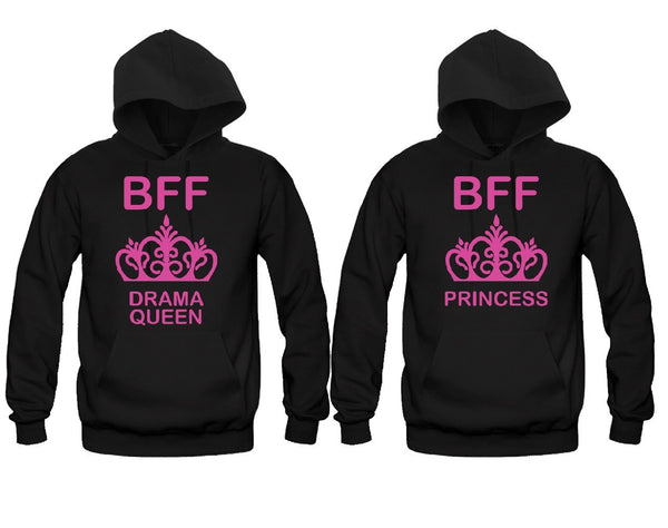 Drama Queen and Princess Girl BFFS Hoodies