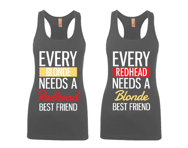 Every Blonde and Every Redhead Girl BFFS Jersey Racerback Tank Tops
