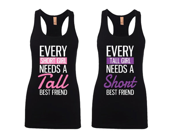 Every Short and Tall Girl BFFS Jersey Racerback Tank Tops