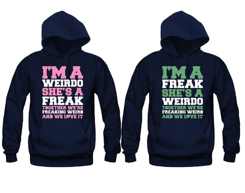 Freaking Weird Best Friends Girl BFFS Hoodies