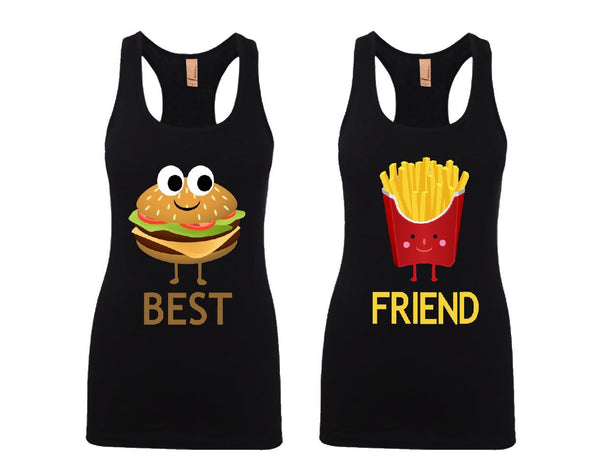 Hamburger and French Fries Girl BFFS Jersey Racerback Tank Tops
