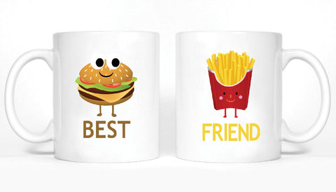 Hamburger and French Fries Girl BFFS Mugs