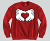Heart Mickey Mouse hands Unisex Crewneck Funny and Music