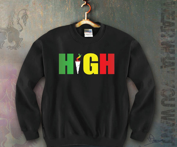 High Rasta Colors Unisex Crewneck Funny and Music