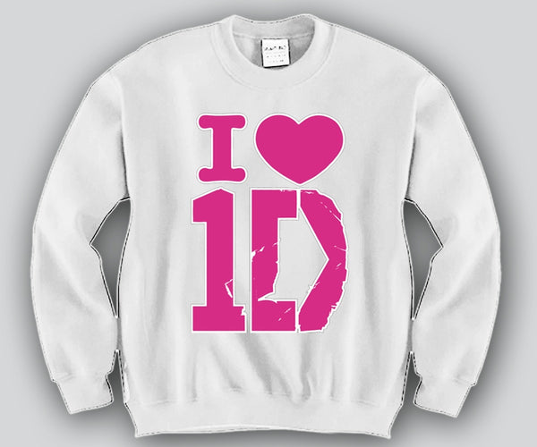 I Heart 1D Pink Print Unisex Crewneck Funny and Music