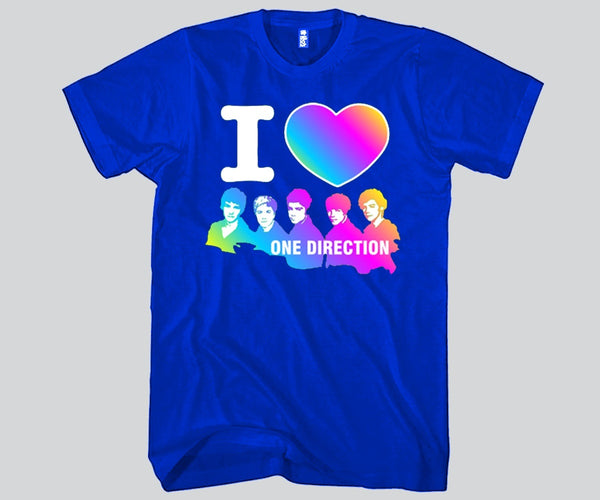 I Love 1D Guys Rainbow Colors Unisex T-shirt Funny and Music