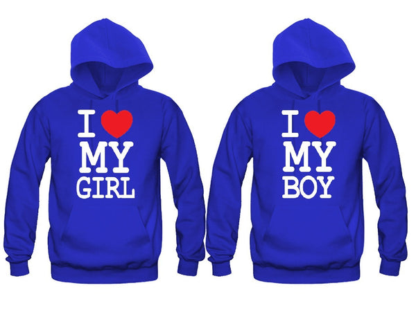 I Love My Girl - I Love My Boy Unisex Couple Matching Hoodies
