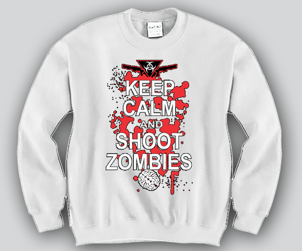 Keep Calm and Kill Zombie Crewneck Funny and Music