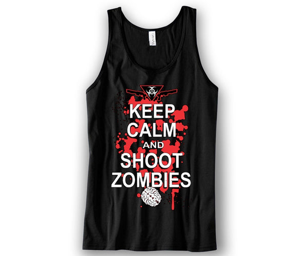 Keep Calm and Kill Zombies Unisex Tank Top Funny and Music