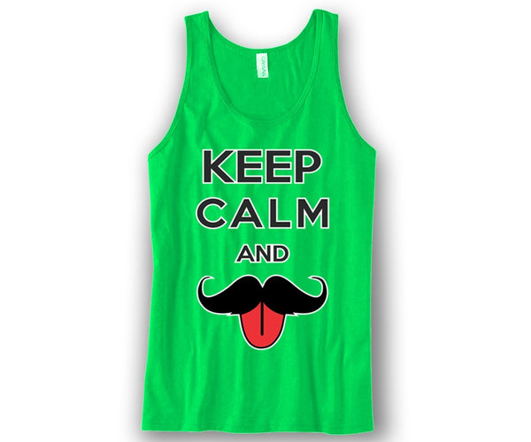 Keep Calm and Moustache On Unisex Tank Top Funny and Music