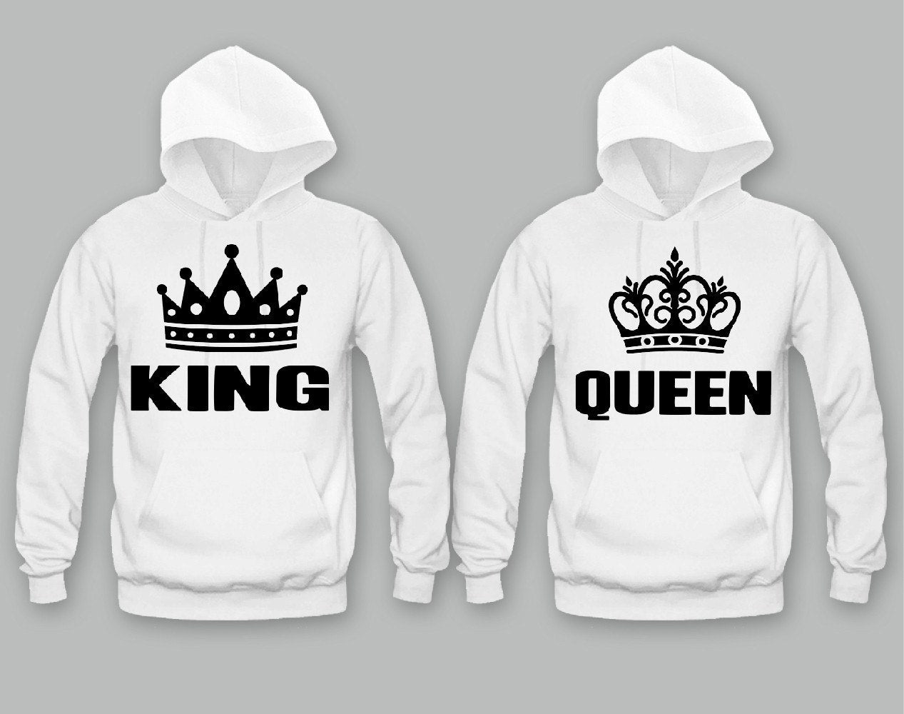 king and queen unisex couple matching hoodies. Black Bedroom Furniture Sets. Home Design Ideas