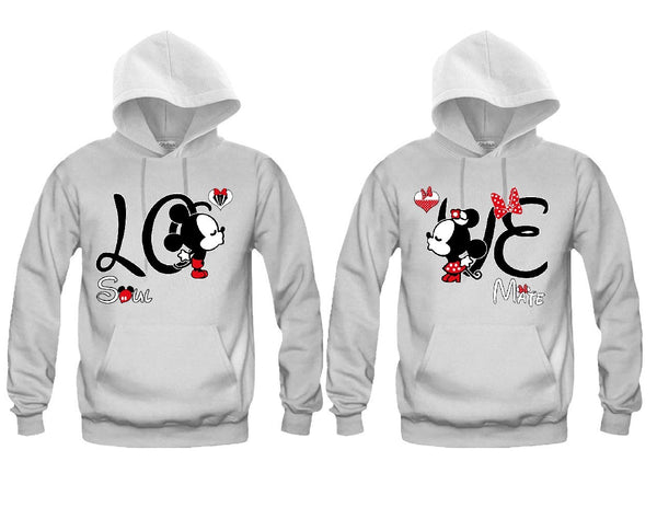 LOVE Cartoon Kissing Soul Mate Unisex Couple Matching Hoodies