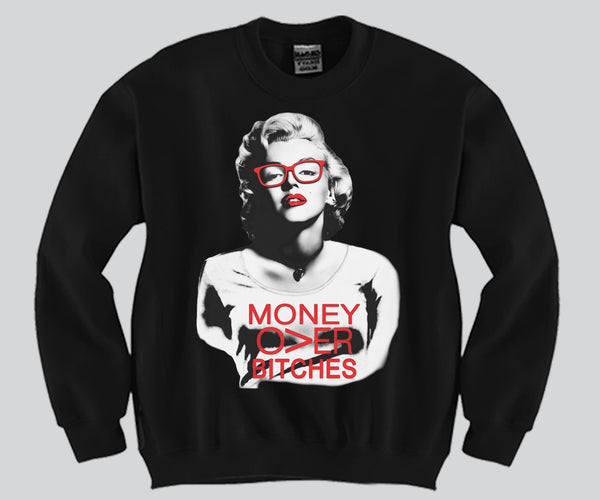 Marilyn Monroe Money Over Bitches Crewneck