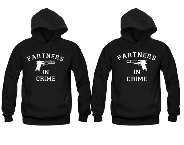 Partners in Crime For Him and Her Unisex Couple Matching Hoodies
