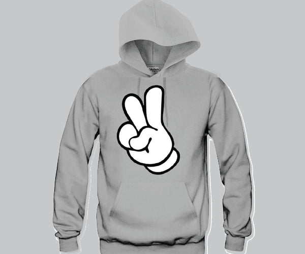 Peace Mickey Hands Unisex Hooded Sweatshirt Funny and Music