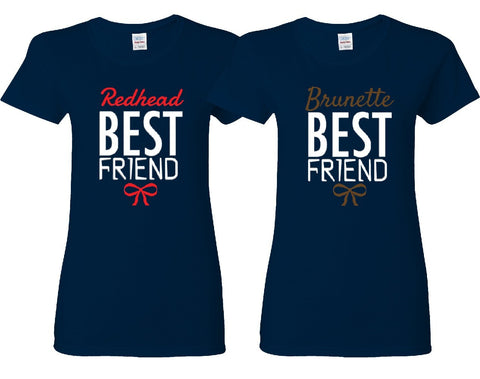 Redhead and Brunette Friends Girl BFFS T-shirts