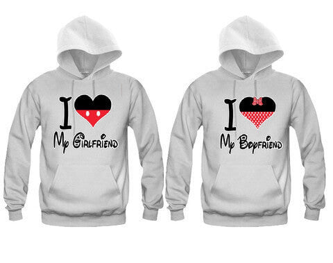 I Heart My Girlfriend - I Heart My Boyfriend Cartoon Theme Unisex Couple Matching Hoodies