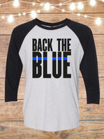 Back The Blue Thin Blue Line Raglan T-Shirt