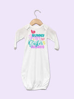 Bunny Kisses And Easter Wishes Girl Baby Gown
