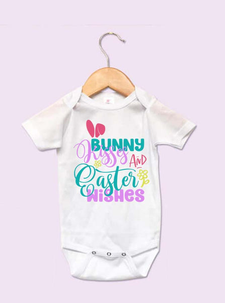 Bunny Kisses And Easter Wishes Girl Infant Onesie