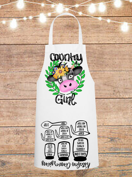 Country Girl Cow Cheat Sheet Apron
