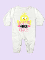 Daddy's Other Chick Easter Long Sleeve Baby Romper