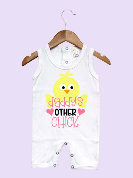 Daddy's Other Chick Easter Sleeveless Baby Romper