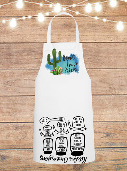 Don't Be A Prick Cactus Cheat Sheet Apron