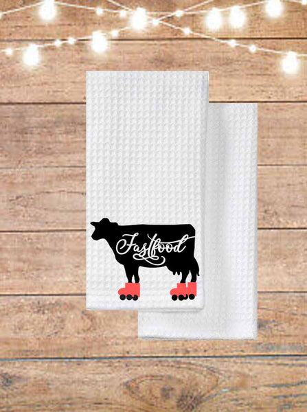 Fast Food Cow Kitchen Towel